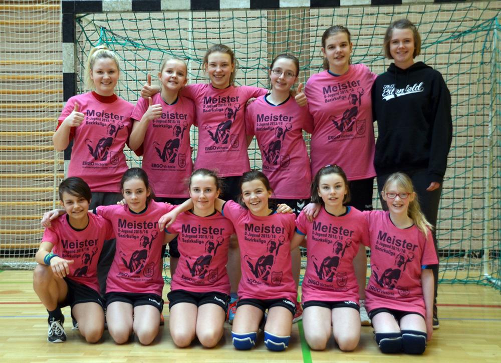 Holte sich die Meisterschaft in der Bezirksliga Nord 2015/16: die D-Jugend der TSG Estenfeld (es fehlen Trainerin Isa Frühauf und Rebekka Müßig)